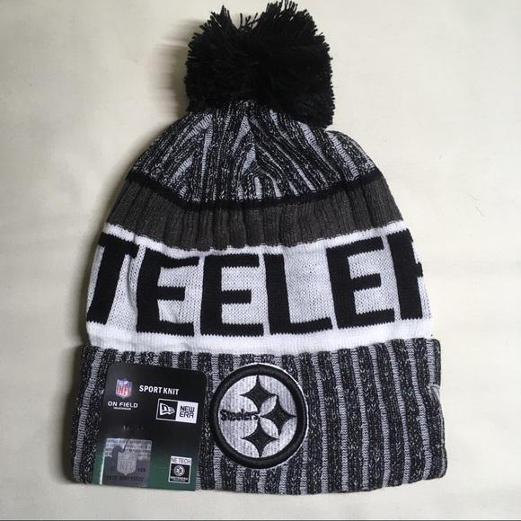 0715851ce Pittsburgh Steelers black   white beanie hat